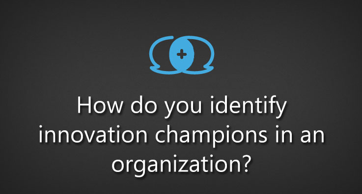 How do you identify innovation champions in an organization?