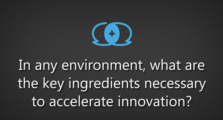 In any environment, what are the key ingredients necessary to accelerate innovation?